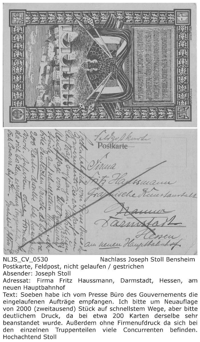 NLJS_CV_0530 Postkarte von Joseph Stoll an Druckerei Haussmann Darmstadt, Auftrag für weitere 2000 Postkarten, Hinweis auf Fehldrucke im letzten Auftrag; Nachlass Joseph Stoll Bensheim, Stoll-Berberich 2016
