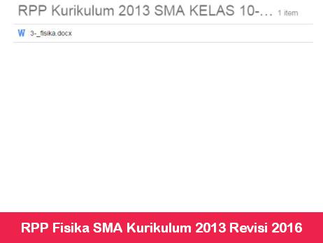 RPP Fisika SMA Kurikulum 2013 Revisi 2016