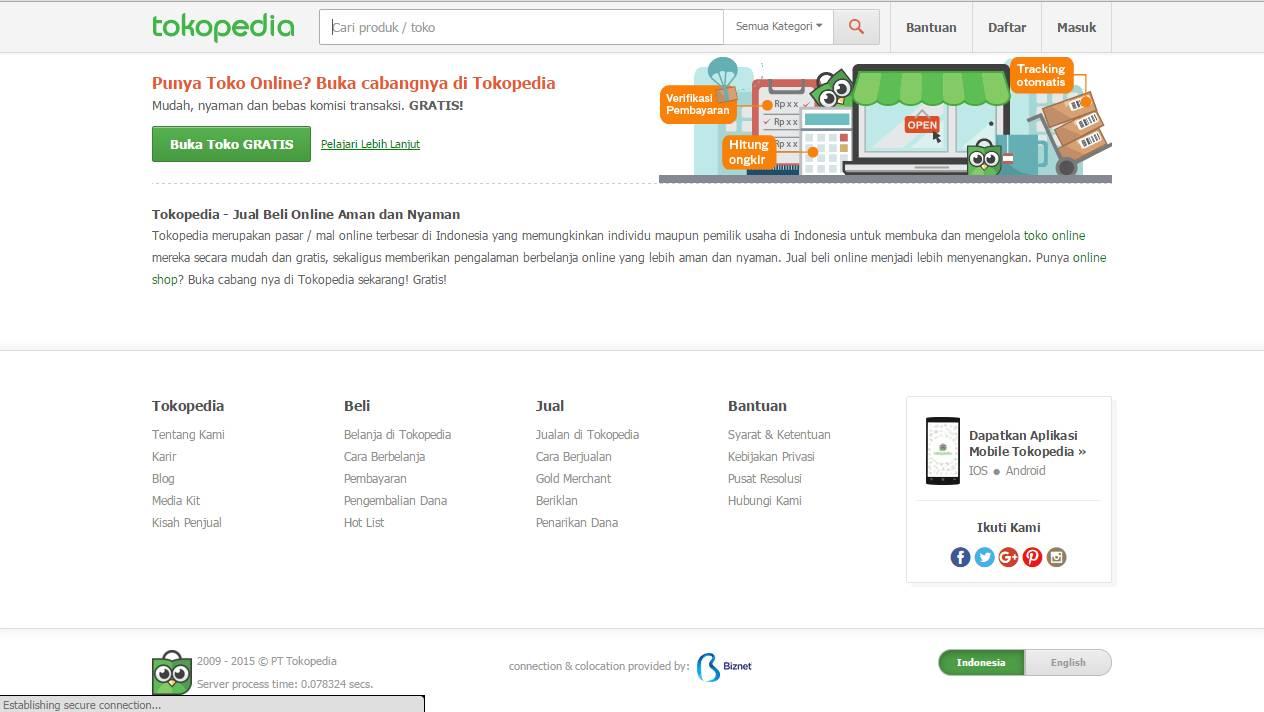 Tampilan tokopedia.com