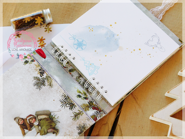 album na zdjęcia świąteczny z materiałową okłądką, scrapbooking handmade