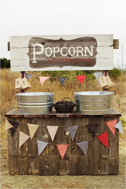 popcorn bar for a rustic themed wedding
