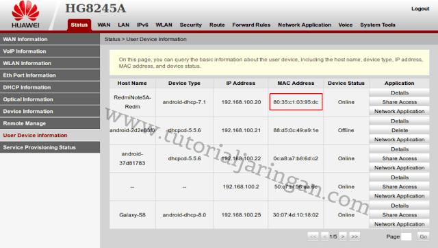 Cara Blokir MAC Address Client di Modem ONT Huawei HG8245A