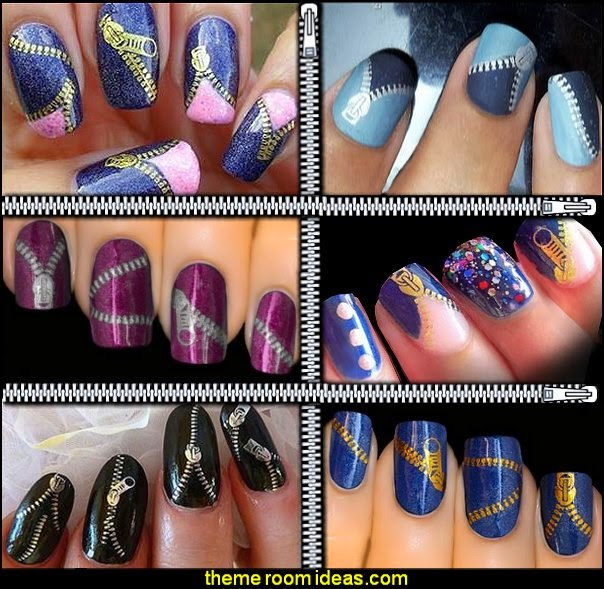 ZIPPER Nail Art Decal Stickers - Zipper Nail Water Decals Stickers