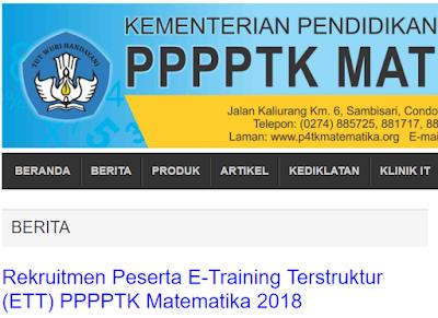 Diklat Guru 2018 E Treaning Terstruktur (ETT) P4TK Matematika