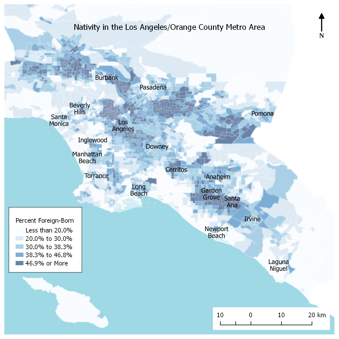 Percent of Population in the Orange County and Los Angeles Metro Area that are Foreign Born (2010-2014)