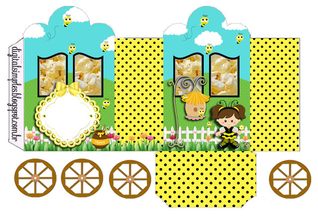 Baby Dressed as Bee:  carriage shaped Free Printable Box.