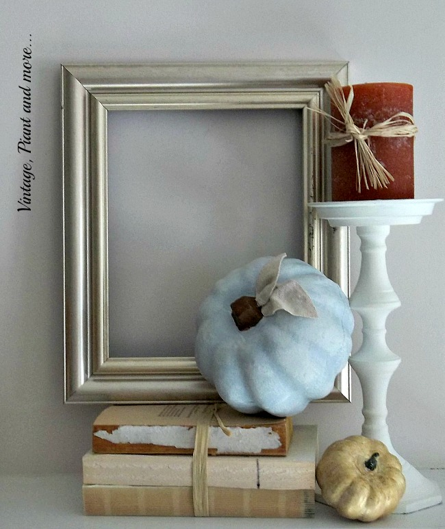 Vintage, Paint and more.. metallic frame used with blue pumpkin for a fall mantel