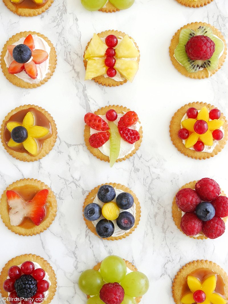 Bite-Size Fruit Tarts for Spring - learn to make these delicious, fun and quick to make fruity appetizers for Spring parties, Easter or snack! | by BirdsParty.com @ BirdsParty