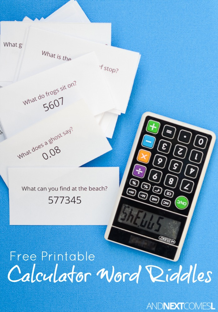 Free Printable Calculator Word Riddles For Kids  And Next Comes L