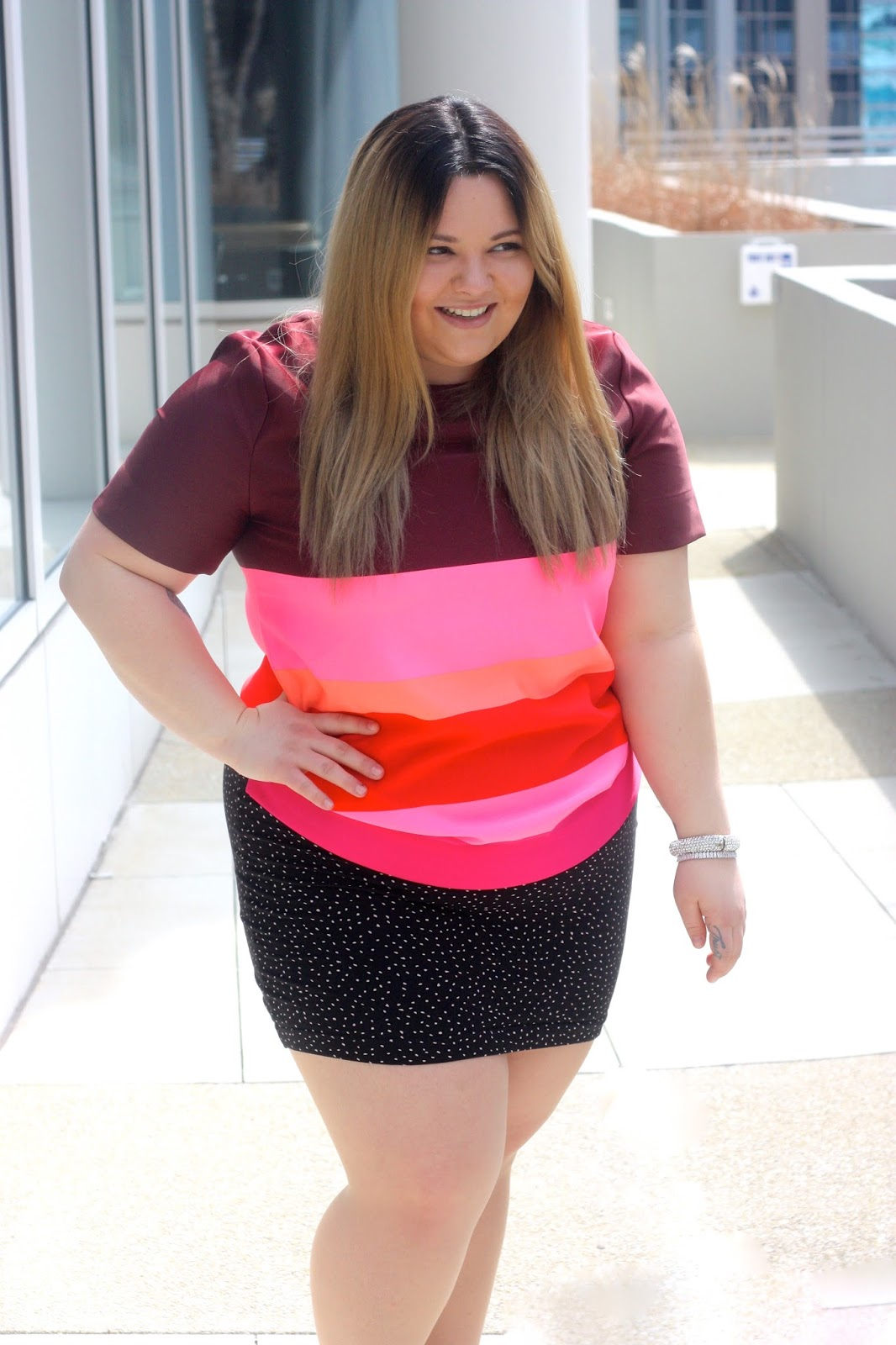 banana republic, fashion blogger, natalie craig, natalie in the city, colorblock, plus size fashion, plus size, polka dot skirt, H&M, spring fashion 2016, easter fashion, fringe sandals, fringe
