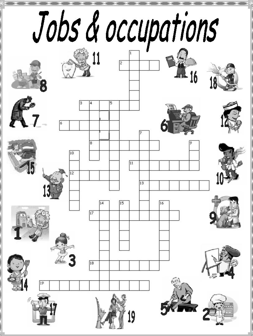 Fichas de inglés: Ficha Jobs 7: Jobs crosswords