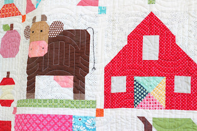 "Lori Holt's Vintage Farm Girl Quilt in 12"" blocks - barn and cow blocks"