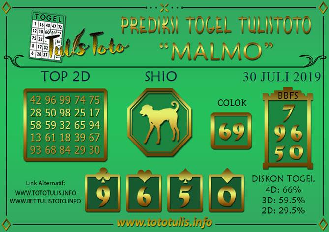 Prediksi Togel MALMO TULISTOTO 30 JULI 2019