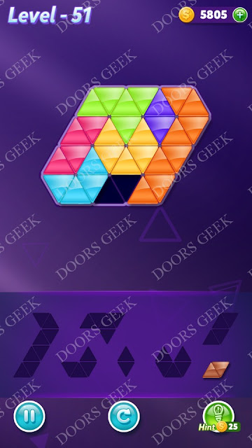 Block! Triangle Puzzle Advanced Level 51 Solution, Cheats, Walkthrough for Android, iPhone, iPad and iPod