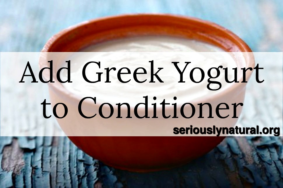 Click here to buy GREEK YOGURT CONDITIONER BLUEBERRY & ACAI which has yogurt in the conditioner