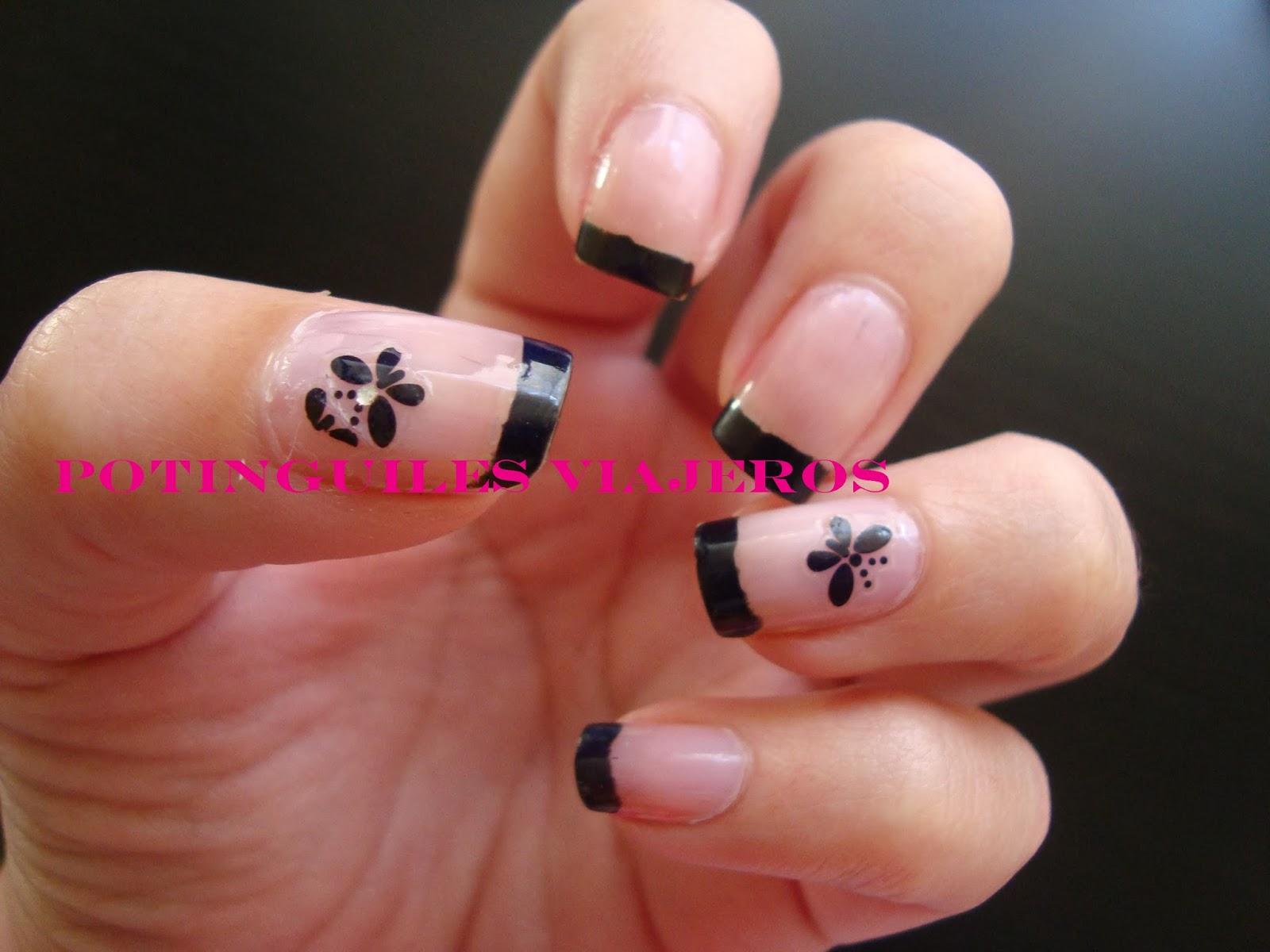 Potinguiles viajeros manicureando manicura francesa negra - Manicura francesa colores ...