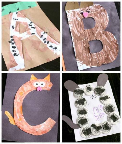 alphabet letter crafts a, b, c, and d