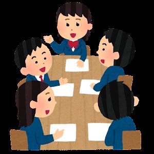学生の会議のイラスト(ブレザー・笑顔・男女)