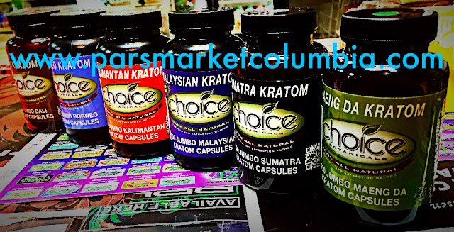 Full line of Choice Kratom Capsules at Pars Market Columbia Howard County Maryland 21045