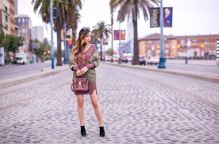 topshop army jacket, bp zip dress, burgundy zip dress, zip dress, military jacket, fall essentials, 31phillip lim mini pashli bag, prada sunglasses, little black choker, baublebar choker, casadei ankle booties, fall essentials, san francisco street style, san francisco style blog, fall outfit ideas