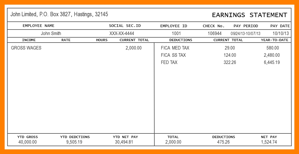 5 Printable Pay Stub Templates in Word Format - Excel Template - payroll stubs templates