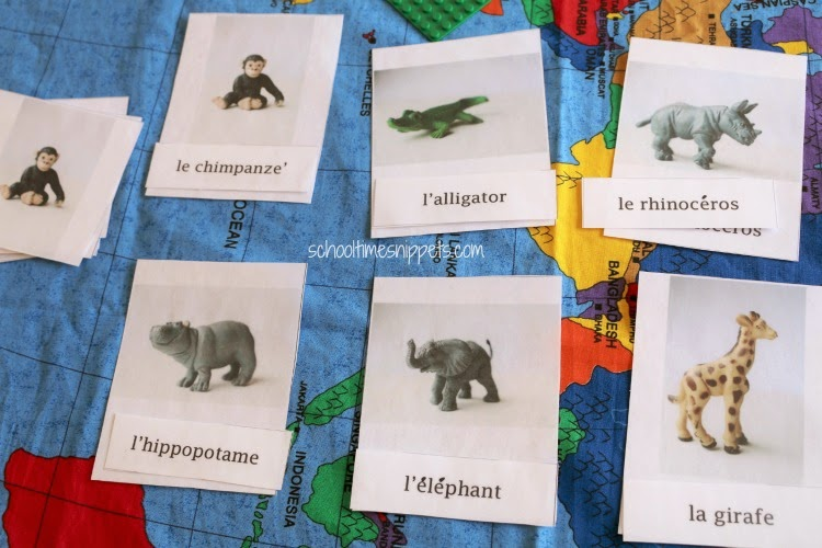 French 3 Part Zoo Animal Cards