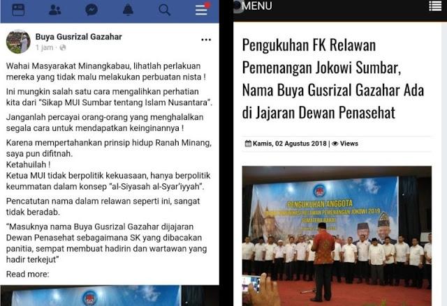Namanya Dicatut Relawan Pemenangan Jokowi, Ketua MUI Sumbar Sebut Perbuatan Nista