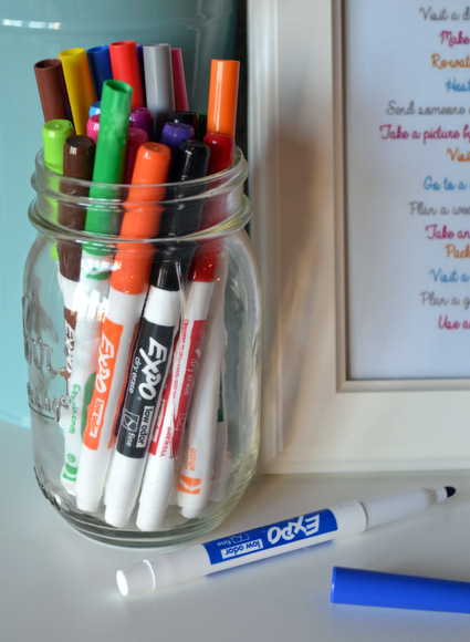 Mason jar of markers