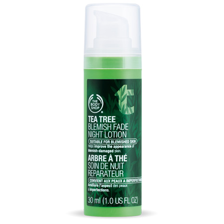Body Shop review products tea tree blemish fade night lotion