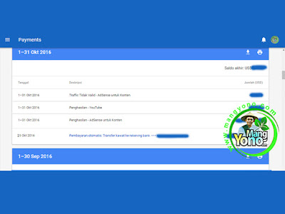 Pembayaran Google Adsense Bulan Oktober 2016.