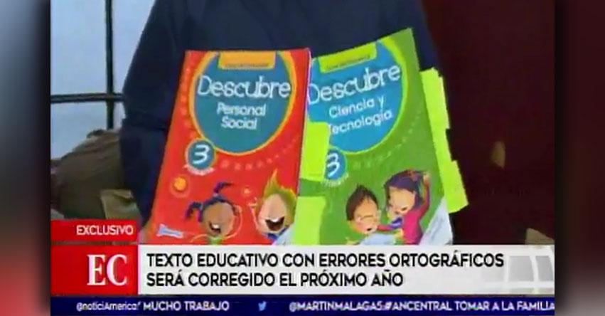 Texto escolar con errores de la Editorial Norma sería corregido el próximo año
