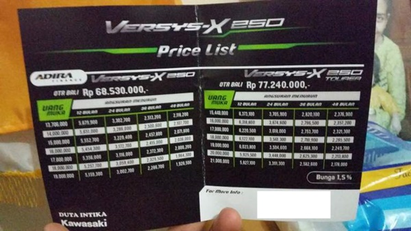 Harga Kawasaki Versys X-250 di Bali