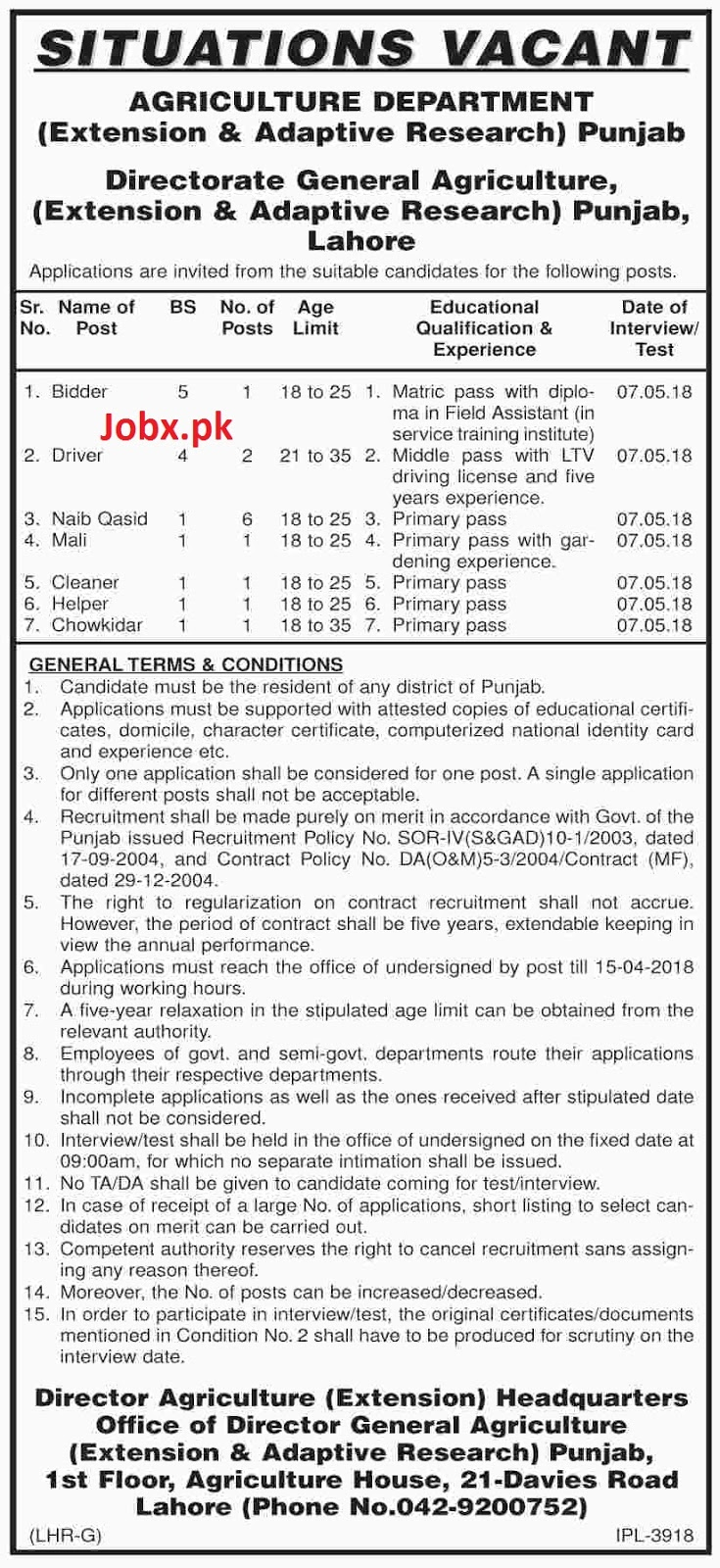 Situations Vacant in Agriculture Department Extension & Adaptive Research