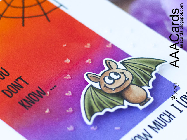 How to use texture pastes for cards with die cuts. Gerda Steiner Bats stamps https://sweetkobylkin.blogspot.com/2018/09/aaa-cards-game-124.html #inkblending, #copicsketch, #bats, #Halloween