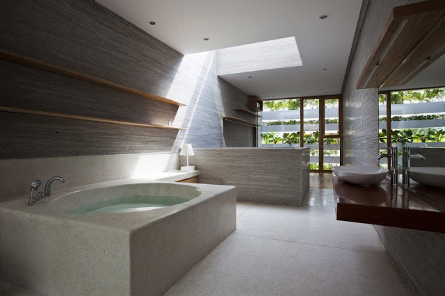 Photo of modern bathroom in green home