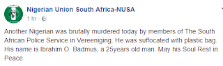 Another Nigerian has allegedly being killed by South African policemen