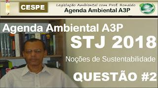 Questões | Agenda Ambiental na Administração Pública A3P | Noções de Sustentabilidade | STJ 2018
