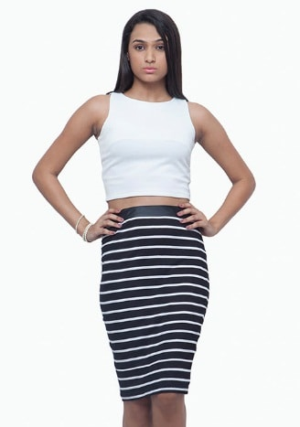 SUPERNOVA PENCIL SKIRT - STRIPES INR-1250
