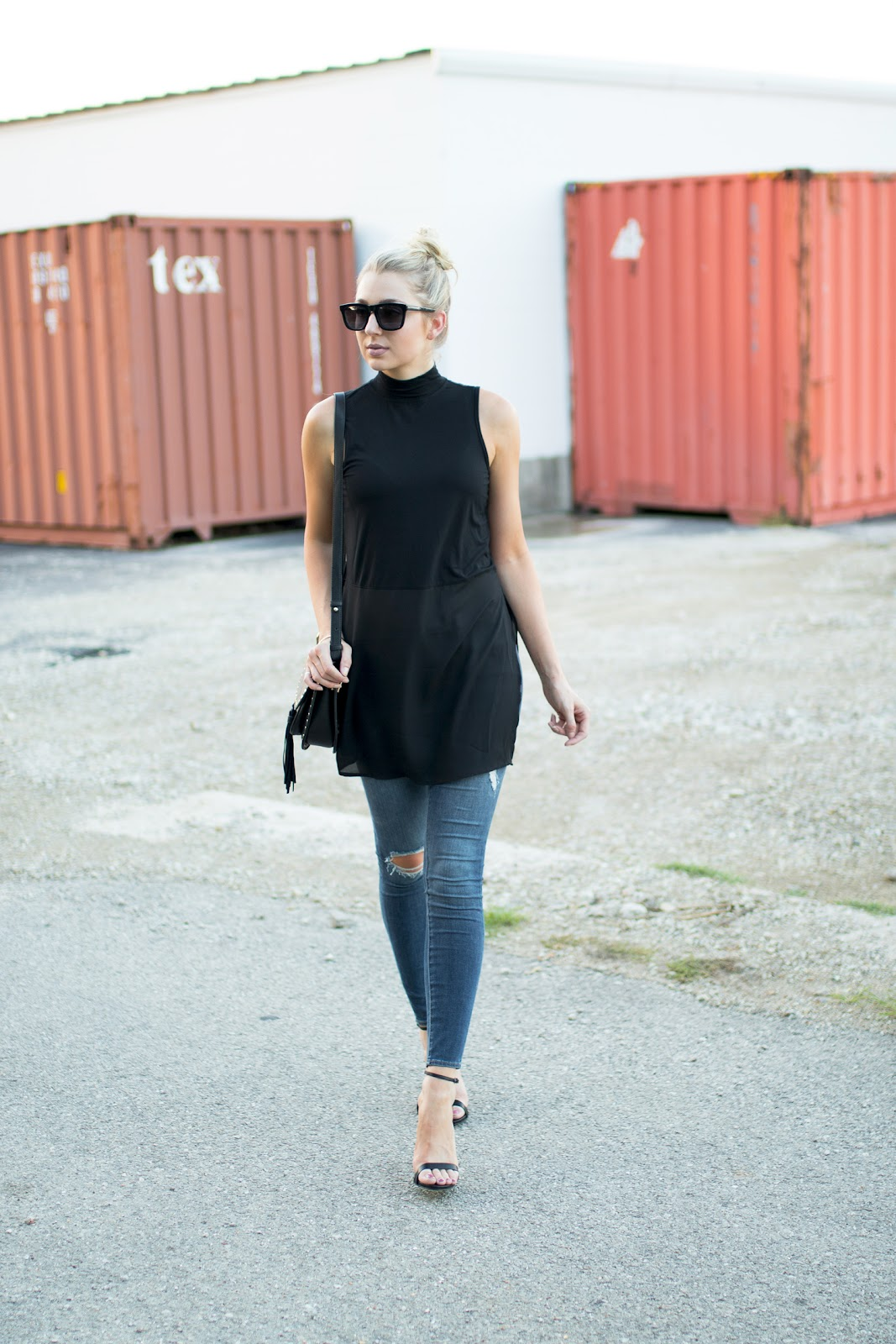 Black tunic tank top with jeans