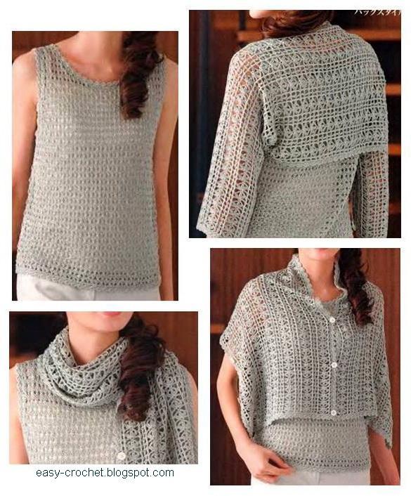 Stylish Easy Crochet: Ladies Crochet Shrug - free pattern
