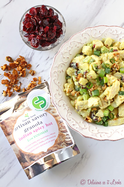 Low-FODMAP Curry Chicken Salad with Cranberries and Spicy Hot Granola  /  Delicious as it Looks