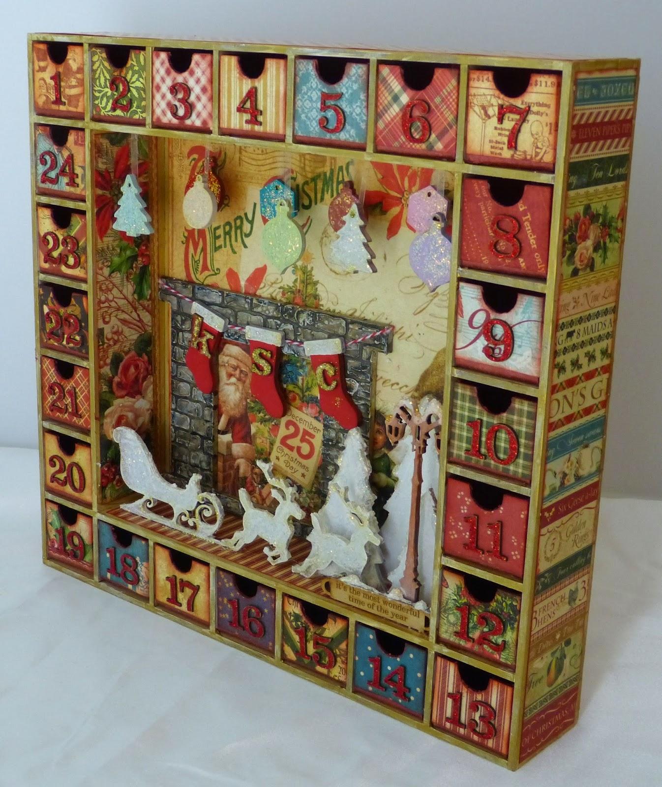 Sacrafters Altered Advent Calendar Shadow Box