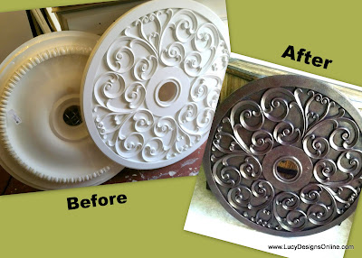 before and after painted ceiling medallions