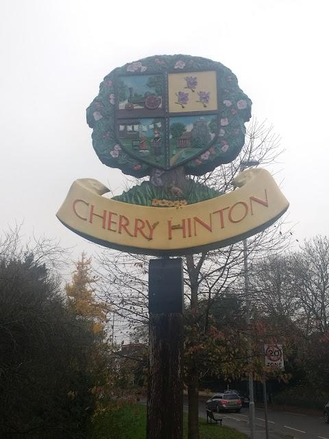 Cherry Hinton, village sign, heraldry, giants grave