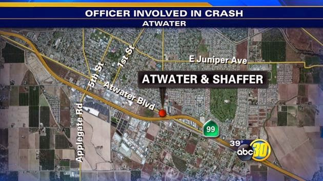 merced county atwater head-on crash police officer patrol car