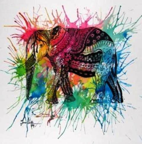 Elephant Face Acrylic Painting