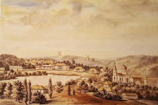 Tahańcza - lata 70. XIX wieku - widok z cerkwią i fabryką sukna