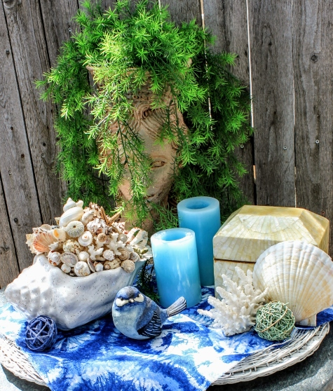Wicker Tray Coastal Style Vignette Decorating Idea