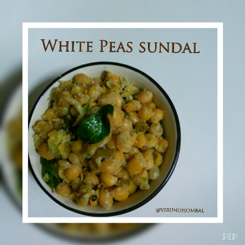 White Peas Sundal Populary known as Thenga(Coconut) manga(mangoes) pattani(white peas) sundal. This sundal can be prepared in a variety of ways. In this version, the white peas, are cooked in pressure cooker and seasoned with mangoes, ginger, green chillies and coconuts. You can use coriander leaves for garnishes. As I mentioned earlier in my posts, soaking is the most important process for any type of sundals. This white peas must be soaked for 8 to 10 hours and then cooked for perfect results.