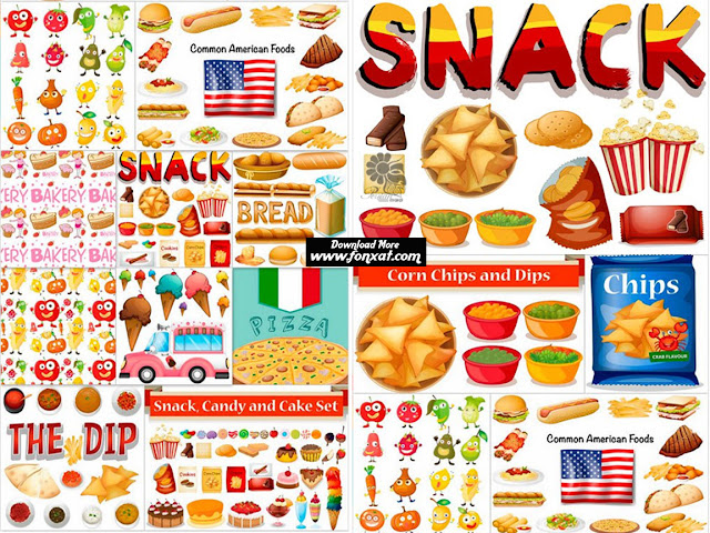 Download vector illustrations of various cuisines Fast food, rice, vegetables and ... - Different kind Of Snack